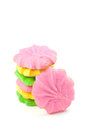 Bunte butter sugar cookies on white Lizenzfreie Stockfotografie