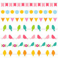 Bunting and birds borders Royalty Free Stock Photo