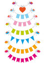 Bunting flags with birds, vector set Royalty Free Stock Photography