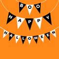 Bunting flags pack Boo Happy Halloween letters. Flag garland. Party decoration element. Hanging text on rope thread. Black white t Royalty Free Stock Photo