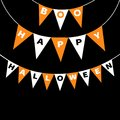 Bunting flags pack Boo Happy Halloween letters. Flag garland. Party decoration element. Hanging text on rope thread. Orange white Royalty Free Stock Photo