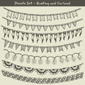 Bunting and garland doodle set vector illustration Stock Photos