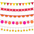 Bunting and garland set Stock Photo