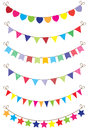 Bunting illustration of with flags hearts stars Royalty Free Stock Photos