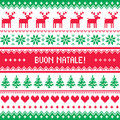 Buon natale card scandynavian christmas pattern winter red and green background for celebrating xmas in italy nordic kntting style Stock Images
