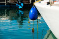 Buoy a blue of a boat in a seaport Royalty Free Stock Photos