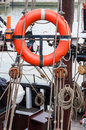 Buoy and rigging on an old ship Stock Photography