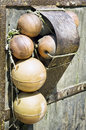 Buoys at an old fishingboat Stock Photography