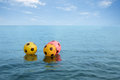Buoys safety for swimmers at sea.