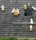 Buoys and a shack Royalty Free Stock Photo