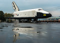 Buran soviet space ship orbital reusable in gorky park moscow reflection of the in a puddle on the asphalt Stock Images