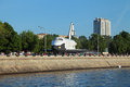 Buran spacecraft moscow may orbital soviet reusable space ship delivered in the gorky park as a scientific and educational Stock Photos