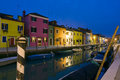 Burano canal reflections at dusk Royalty Free Stock Photo