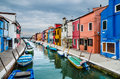 Burano channel view venice in italy of colorful village landmark of veneto region Stock Image