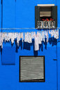 Burano house wall and washing line Royalty Free Stock Photo