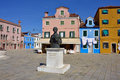 Burano island italy sept central square and monument baldassare galuppi byname il buranello on the famous venice venice and Stock Photography