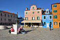 Burano island italy sept square baldassare galuppi byname il buranello on the famous venice venice and the venetian lagoon Royalty Free Stock Photo