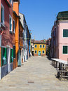 Burano venice island canal small colored houses Stock Photos