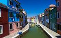 Burano venice island canal small colored houses and the boats Royalty Free Stock Photography
