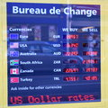 Bureau de change detail of with displayed exchange rates Royalty Free Stock Photo