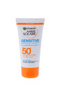 BURGAS, BULGARIA - MAY 22, 2017: Garnier Ambre Solaire Sensitive Face and Neck Sun Cream SPF50 50ml isolated on white. Royalty Free Stock Photo