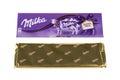 BURGAS, BULGARIA - MAY 17, 2017: Milka Swiss milk chocolate bar isolated on white background. Milka Alpine Milk chocolate bar made