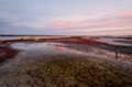Burgas salt lake sunset over Stock Photos