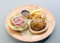 Burger appetizer with french fries Stock Images