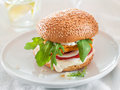 Burger chicken or fish with tomato and rocket selective focus Stock Photography
