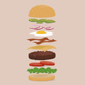 Burger customization with various additions for Royalty Free Stock Photos
