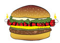 Burger with dynamite conceptual illustration a the filled Stock Photography