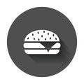 Burger fast food flat vector icon. Hamburger symbol logo illustr