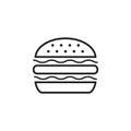Burger fast food flat vector icon. Hamburger symbol logo