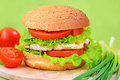 Burger fast food kitchen board tomatoes green onions Stock Image
