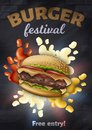 Burger Festival Vertical Banner, Tasty Hamburger