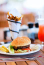 Burger and french fries Royalty Free Stock Image
