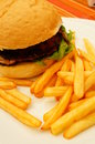Burger and frites meat served with on plate Royalty Free Stock Photo