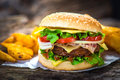 Burger homemade on wooden background Stock Photo