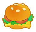 Burger icon bun sandwich with cheese lettuce and tomato in vector a Stock Image