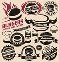 Burger icons, labels, signs, symbols and design elements Royalty Free Stock Photo