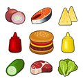 Burger icons set Royalty Free Stock Photo