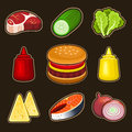 Burger icons set this is file of eps format Royalty Free Stock Images