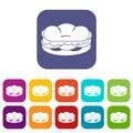 Burger icons set flat