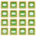 Burger icons set green