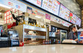 Burger king fast food restaurant samara russia august in hypermarket ambar it is the second largest hamburger chain in Royalty Free Stock Images