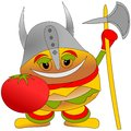 Burger king warrior Royalty Free Stock Image