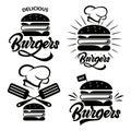 stock image of  Burger logo set with lettering. Emblem, icon, label for restaurant or cafe design. Burger lettering illustration.Vector