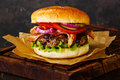Burger with meat and bacon Royalty Free Stock Photo