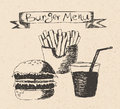 Burger menu hand drawn illustration on recycled paper texture Royalty Free Stock Photography