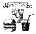 Burger menu hand drawn illustration on white Stock Images